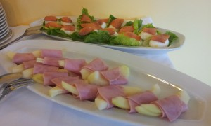 Finger food- Smoked Ham & Gala Melon - Hard Boiled Egg garnished with Smoked Salmon